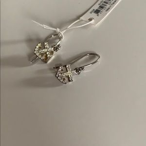 New Coach Sterling Silver Crystal Anchor Earrings